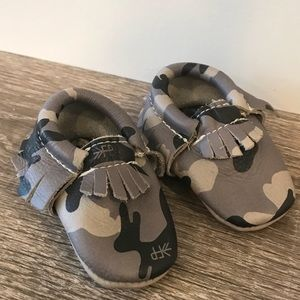 Freshly picked gray camo moccasins